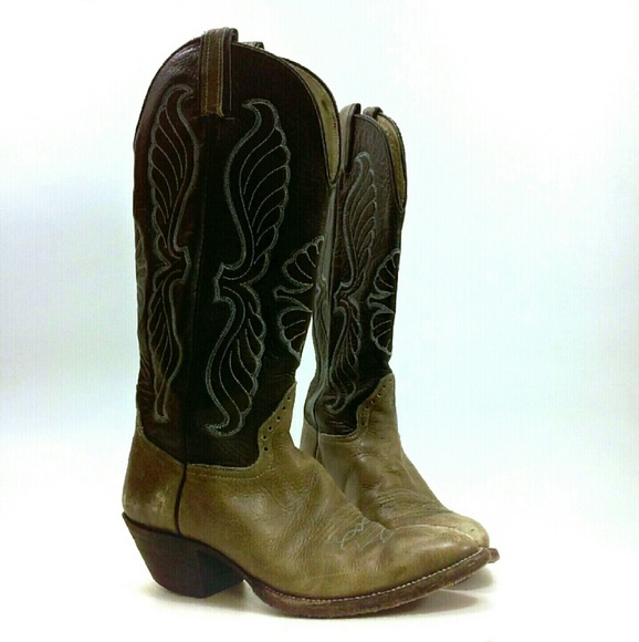 bc793839361 Hondo Vintage Cowboy Boots Stitched Black Brown